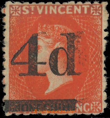 223404 - 1881 SG.35, Viktorie 1Sh vermilion s přetiskem 4P z období