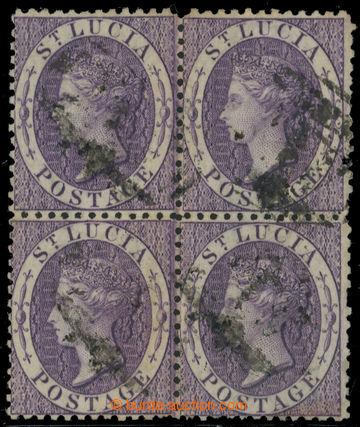 223414 - 1864 SG.13w, Viktorie 6P fialová, raz. 4-blok sprůsvitkou