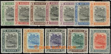 223461 - 1907-1910 SG.23-33, Brunei River 1C-$1; kompletní a bezvadn