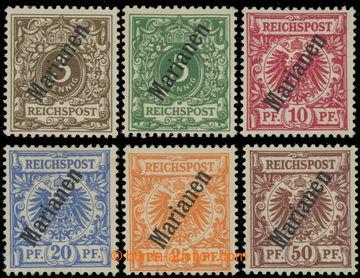 223509 - 1900 Mi.1II-6II, Krone, Adler 3Pf - 50Pf; po nálepce, 3Pf s