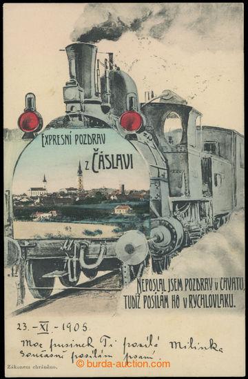 223515 - 1905 ČÁSLAV - lito koláž - lokomotiva a pohled na město