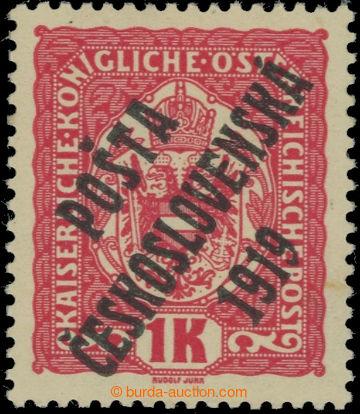 223541 -  Pof.47a, Znak 1K červená, černý přetisk, II. typ; dv,
