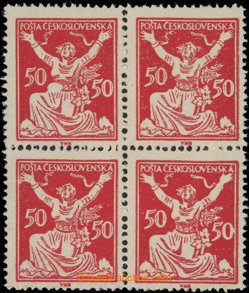 223564 -  Pof.155 DV 1, 50h červená, 4-blok s DV 1 - vajíčko v pa