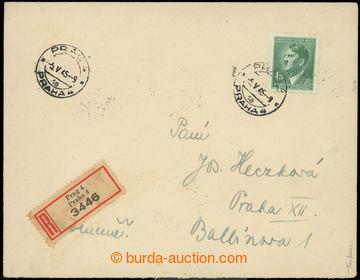 223630 - 1945 R-dopis vyfr. zn. A.H. 4,20K zelená s razítkem PRAHA