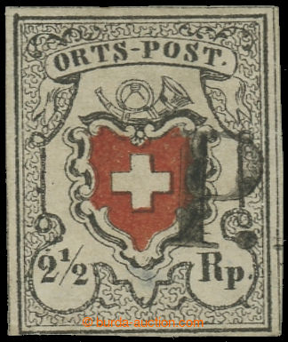 223631 - 1850 Mi.5I, Ortspost 2½Rp KŘÍŽ S ORÁMOVÁNÍM; fragment