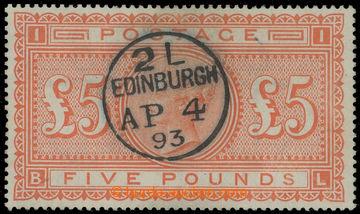 223656 - 1893 SG.137, Viktorie £5 oranžová s náprstkovým DR EDIN