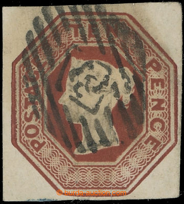 223659 - 1847 SG.57, Embossed 10P hnědá, luxusní čtvercový stři