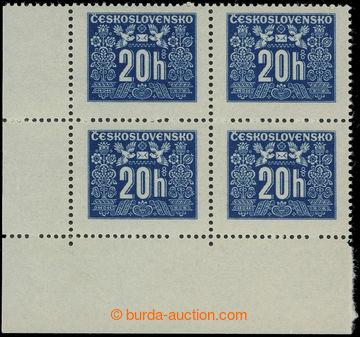 223687 - 1946 Pof.D68, Doplatní - hlubotisk 20h modrá, levý dolní