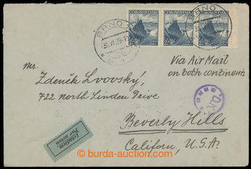 223796 - 1939 Let-dopis zaslaný do USA, vyfr. 3-páskou čs. předb�