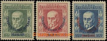 223854 - 1925 Pof.180-182, Kongres 50h - 200h, různé průsvitky, 10
