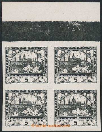 224225 -  ZT  hodnoty 5h v černé barvě (I. kresba), 4-blok s horn�