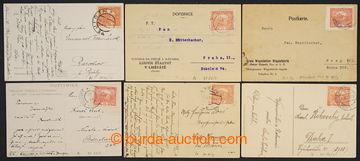 224283 - 1919 sestava 6ks pohlednic vyfr. zn. 15h cihlově červená