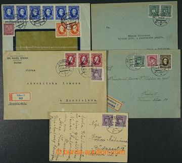 224356 - 1939 sestava 5ks celistvostí se souběžnými frankaturami