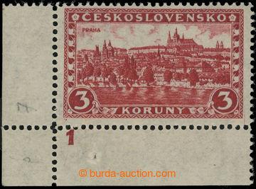 224473 - 1926 Pof.226xI DČ, Praha 3Kč červená, levý dolní rohov