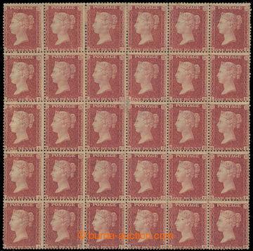 224624 - 1856 SG.40, 30-blok 1P hnědo červená; vzácný celek, kat