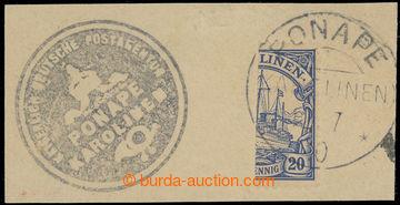 224629 - 1910 CAROLINE ISLANDS, provisional PONAPE on cut-square, fro
