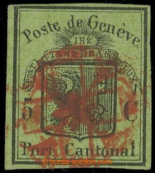 224639 - 1846 ŽENEVA / 1846, Mi. 4, Znak 5C s celým červeným rose