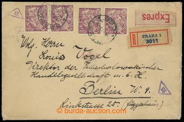 224666 - 1923 těžší R+Ex-dopis adresovaný do Německa, vyfr. 4-n