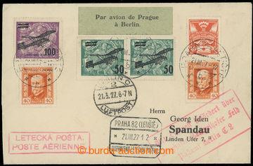 224668 - 1927 1. let PRAHA - BERLÍN / Let-dopis na předtištěné o