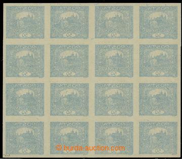 224686 -  Pof.16 Ob, 50h modrá, 16-blok s obtiskem na lepu; bez nál