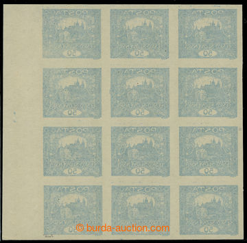 224687 -  Pof.16 Ob, 50h blue, blk-of-12 with R margin with offset on