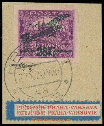 224709 - 1920 Pof.L3, I. provisional air mail stmp. 28Kč/1000h viole