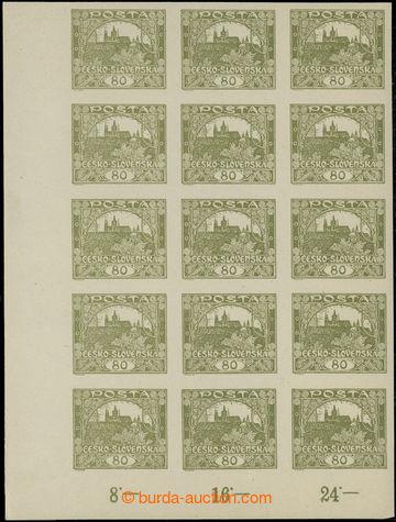 224716 -  Pof.19, 80h olivová, levý dolní rohový 15-blok s počí