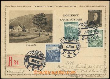 224728 - 1940 CDV67/7, čs. obrazová dopisnice TGM 1,20Kč zaslaná