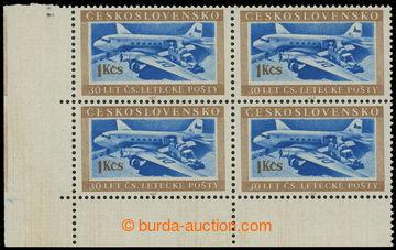 224778 - 1953 Pof.767 DO, Doprava 1Kčs, levý dolní rohový 4-blok,