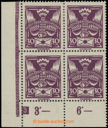 224826 -  Pof.150 DČ, 30h fialová, levý dolní rohový 4-blok s D�