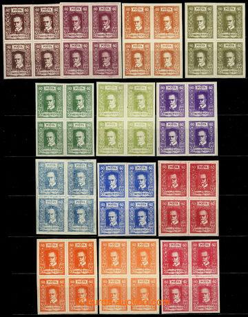 224879 - 1920 ZT  tiskárny HAASE, sestava 13ks 4-bloků hodnoty TGM