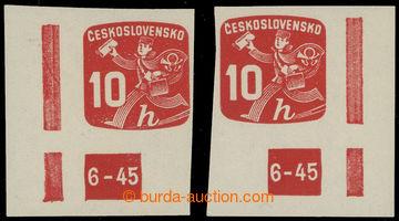 224943 - 1945 Pof.NV24, Novinová 10h, levá a pravý rohová známka