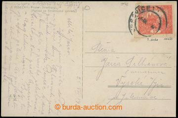 224948 - 1919 7. TISKOVÁ DESKA /  pohlednice vyfr. zn. 15h cihlově