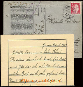 22502 - 1942 C.C. GUSEN  pre-printed envelope also letter paper with
