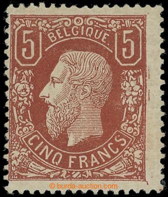 225049 - 1869 Mi.34b, Leopold II. 5Fr, bezvadný kus s úplným lepem