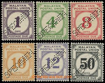 225053 - 1936 Malayan Postal Union / SG.D1-D6, postage-due 1C-50C SPE