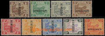 225054 - 1922 SG.52s-73s, Tiger 1C - 35C, 9 values SPECIMEN; very fin