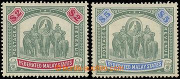 225055 - 1904 SG.49-50, Elephants $2 and $5, wmk Sript CA, very fine