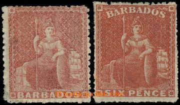 225065 - 1861 SG.27, 30, Britannia 4P dull rose red a 6P rose red; po