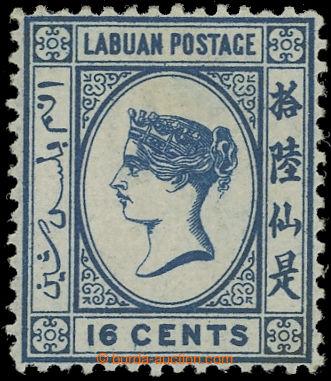 225075 - 1880 SG.10w, Viktorie 16C modrá, průsvitka CC PŘEVRÁCEN�