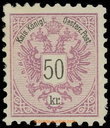 225094 - 1883 ANK.9, Znak 50Kr rotlila, zoubkování 9½; bezvadný k