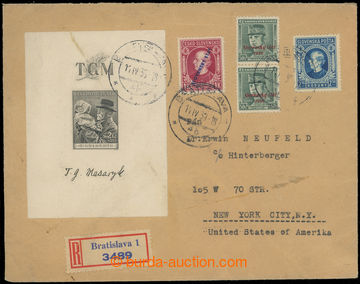 225106 - 1939 R-dopis do USA, vyplacený čsl. aršíkem Pof.A335 jak