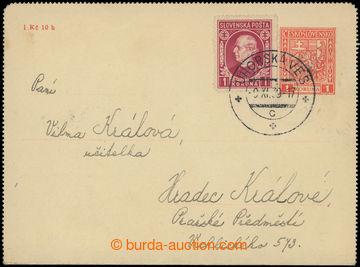 225115 - 1939 CZL2, čs. zálepka Znak 1Kč jako slovenská předbě�