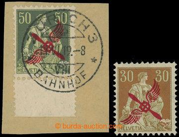 225136 - 1919-1920 Mi.145, 152 Helvetia 30C a 50C s červeným leteck