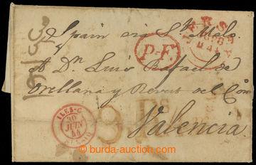 225141 - 1844 JERSEY / dopis do Valencie, vyplacený 8P, zámořské