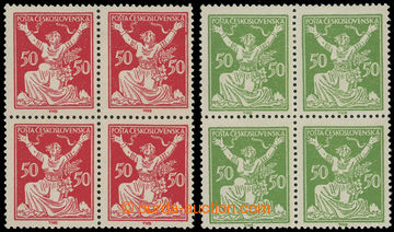 225213 -  Pof.155 DV 1 + 156 DV 1, 50h červená a zelená ve 4-bloc�