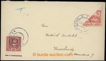 225271 - 1919 dopis v místě vyfr. půlenou Hradčany 10h červená,