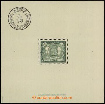 225314 - 1930 Mi.Bl.1, aršík Výstava Antverpy 4Fr zelená s PR, ro