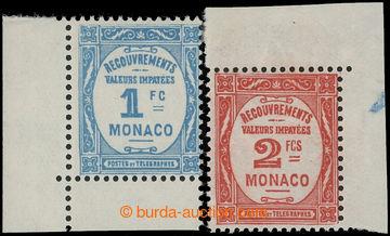 225389 - 1853 DOPLATNÍ / Mi.25-26, Číslice 1Fr a 2Fr, rohové kusy