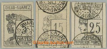 225488 - 1890 Mi.7-9, Symboly 5C, 15C a 25C s DR DIEGO SUAREZ; vše s